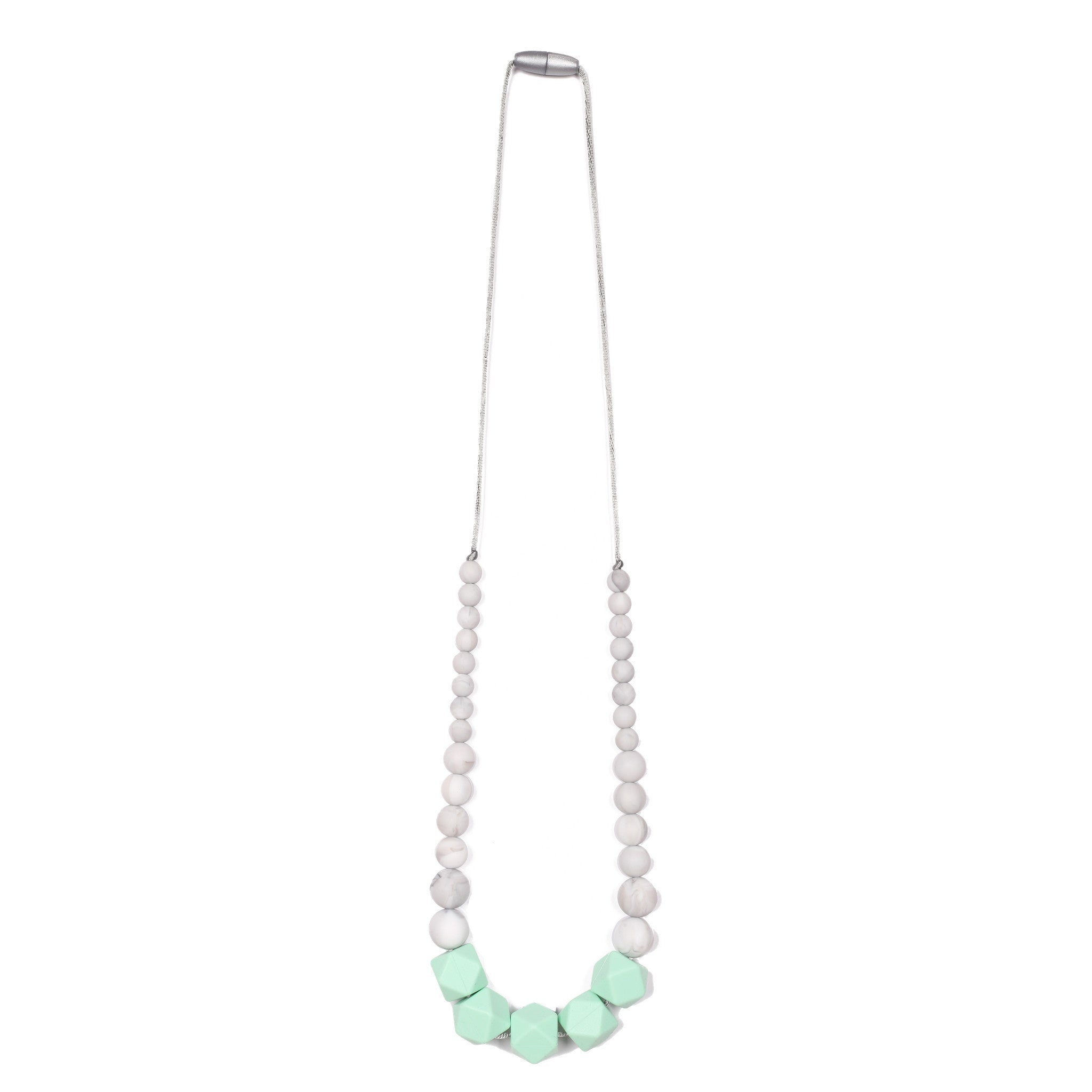 Madison Teething Necklace - Mint/Marble
