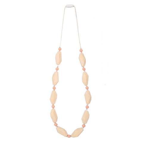Naomi Teething Necklace - Peach/Cream