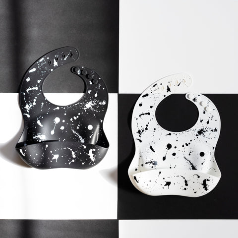 Silicone Baby Bib - Paint Splatter on White