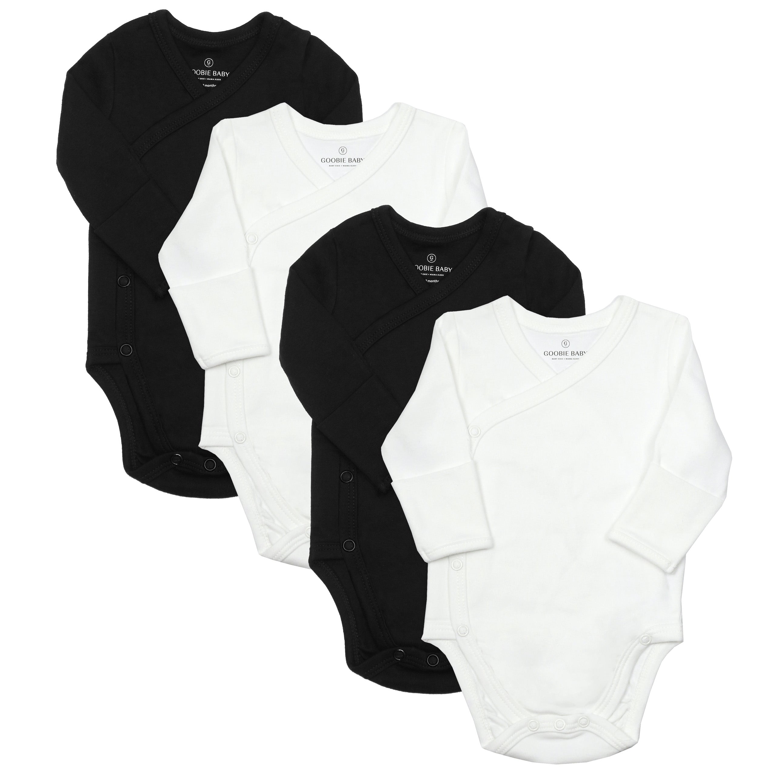 Long Sleeve Side Snap Bodysuits - Black/White