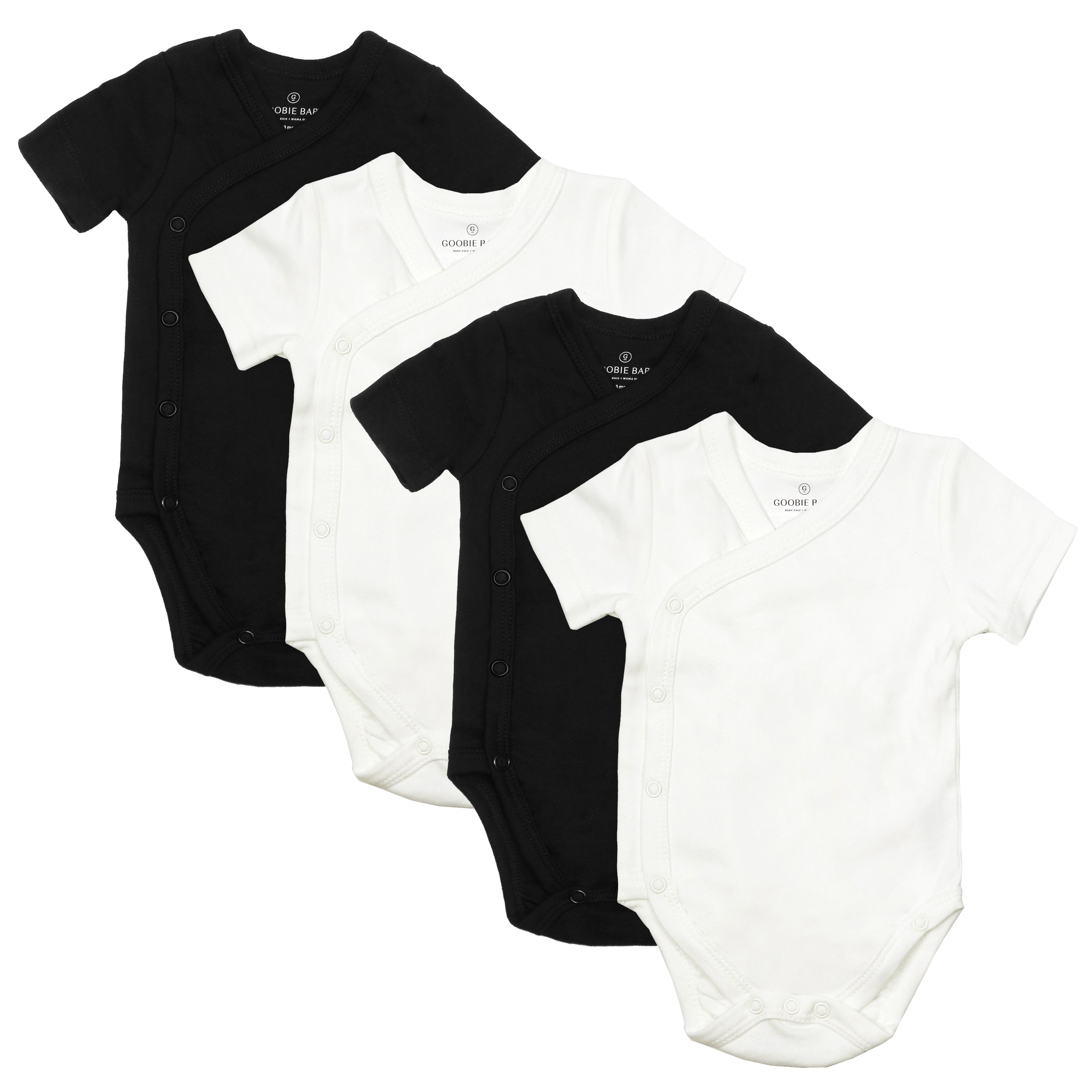 Short Sleeve Side Snap Bodysuits - Black/White