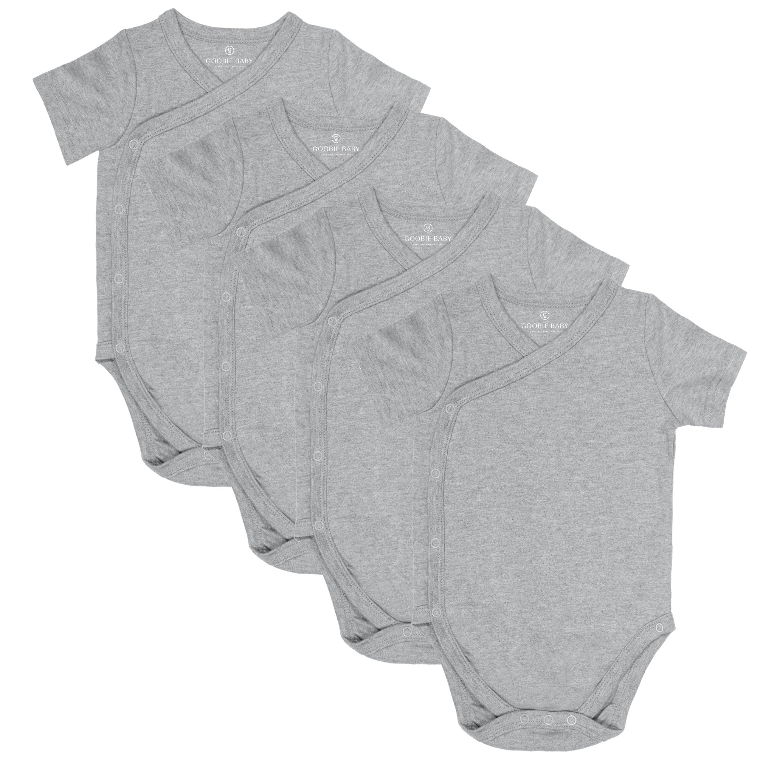 Short Sleeve Side Snap Bodysuits - Heather Gray