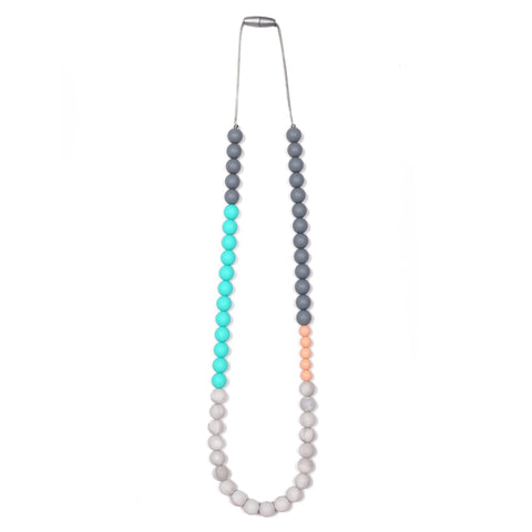 Luna Teething Necklace - Turquoise/Gray/Peach/Cream