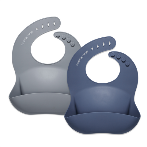 Silicone Baby Bib Set - Dove Gray/Night