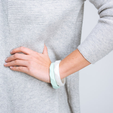 Geometric Teething Bracelet - Mint & Pearl