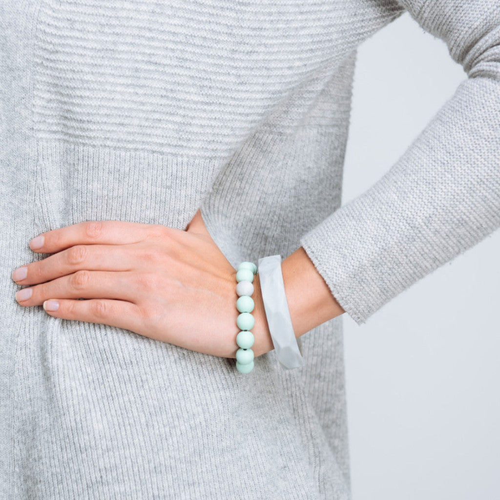 Geometric & Beaded Teething Bracelet - Marble & Mint