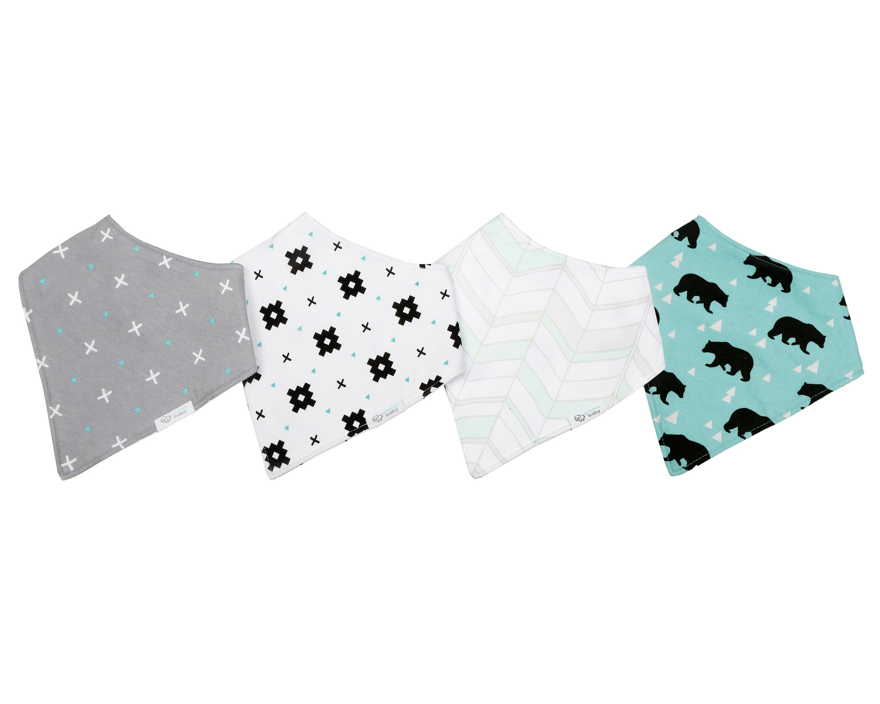 Reversible & Waterproof Cotton Baby Bandana Drool Bibs - Teal/Grey Bears