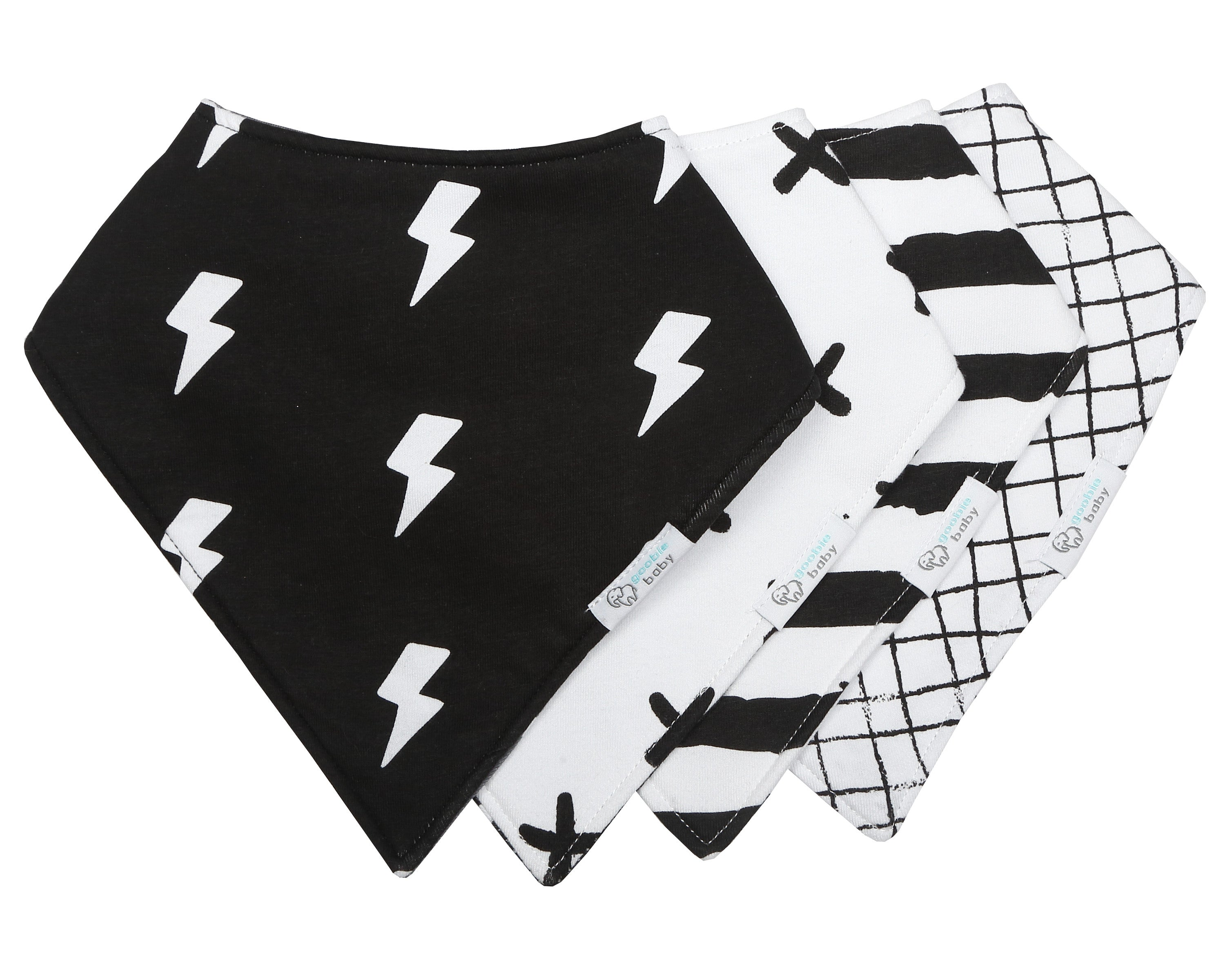 Reversible & Waterproof Cotton Baby Bandana Drool Bibs - Black/White Monochrome