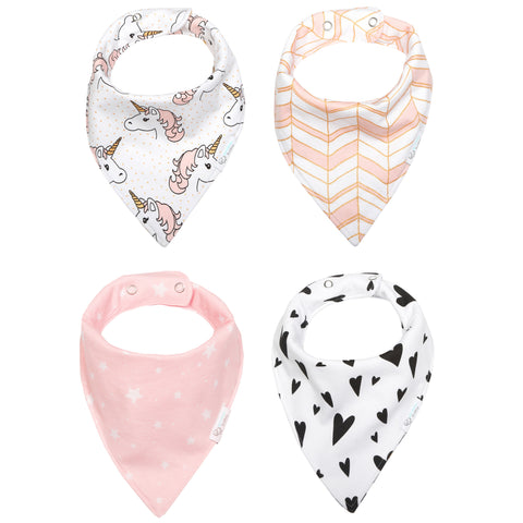 Reversible & Waterproof Cotton Baby Bandana Drool Bibs - Pink/Gold Unicorn