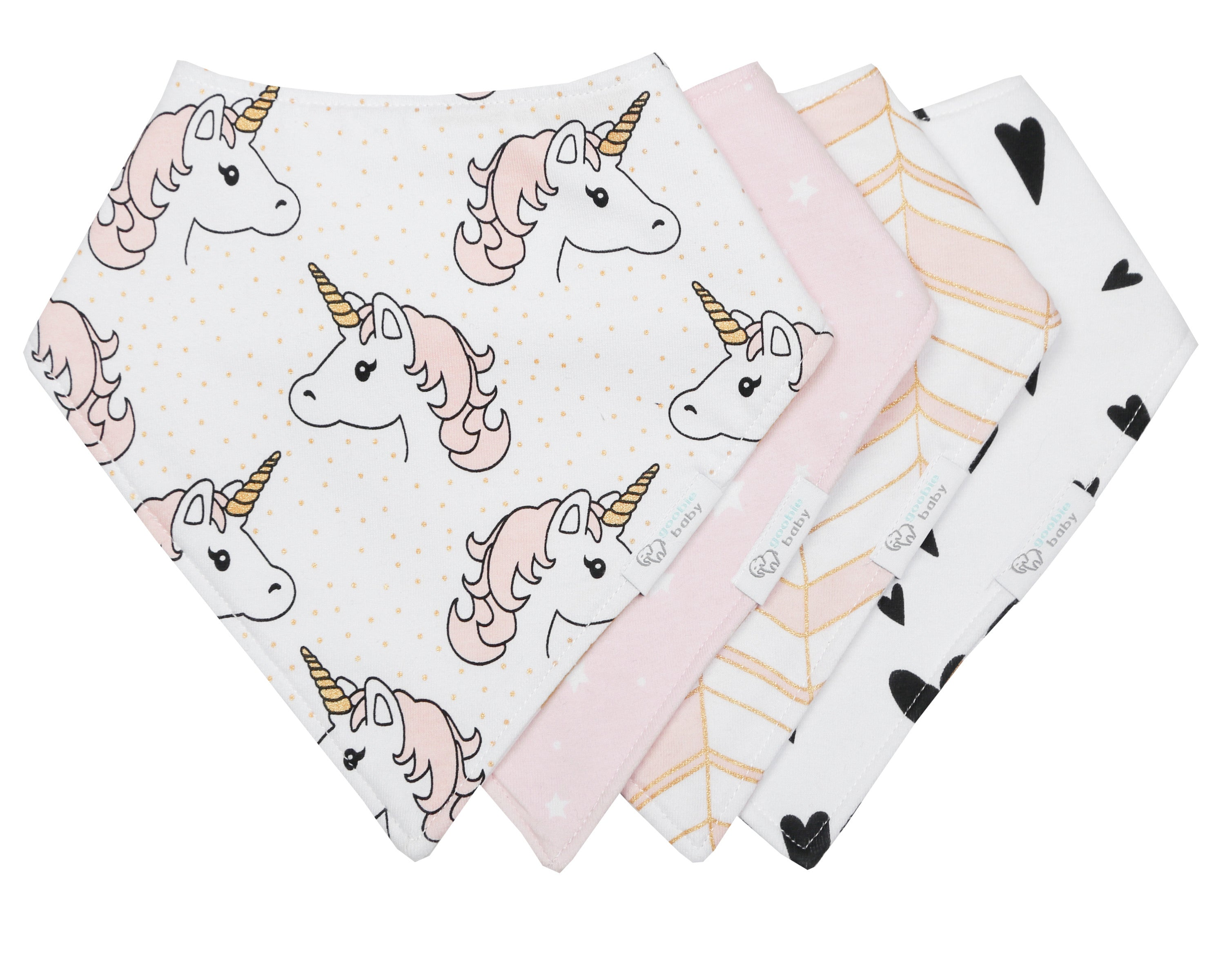Reversible & Waterproof Cotton Bandana Bibs - Pink/Gold Unicorn