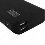USB Powerbank 10,000mAh External Charger with Dual Output  for Smartphones and Tablets (Black)