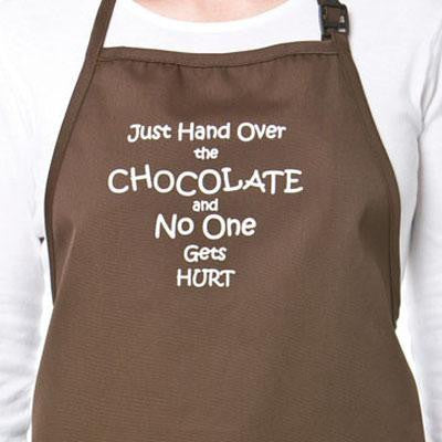 "Chocolate Lover's Apron ""Just Hand Over the Chocolate and No One Gets Hurt"" - Cricket Creek"