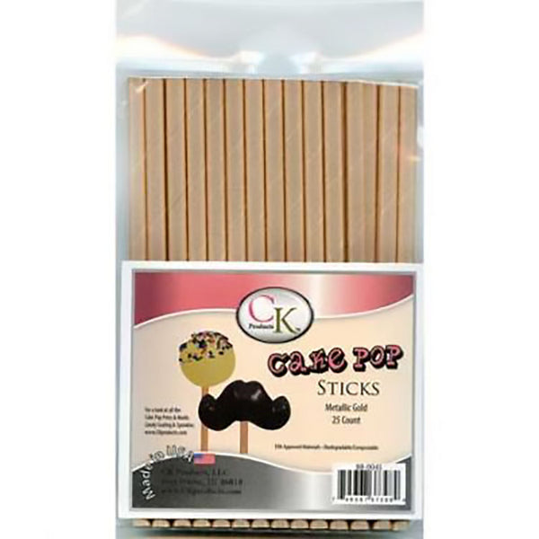 Metallic Gold Cake Pop Sticks 25 Count - Cricket Creek