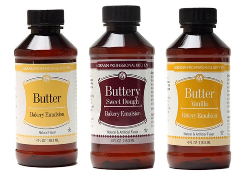 LorAnn Oils Bakery Emulsion Set of 3, Butter, Buttery Sweet Dough, Butter Vanilla - Cricket Creek
