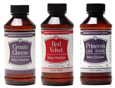 LorAnn Oils Bakery Emulsion Set of 3, Cream Cheese, Princess Cake and Cookie, Red Velvet - Cricket Creek