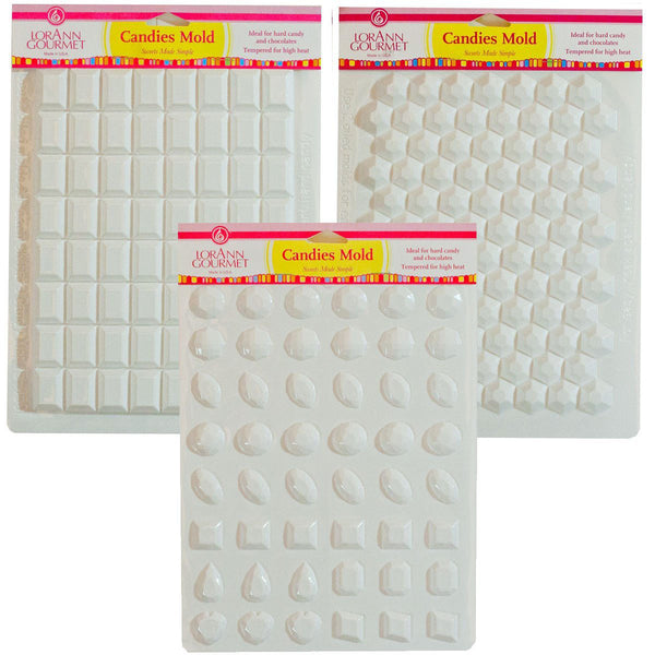Hard Candy Molds Gems Set - Includes Jewels, Break Apart Hexagon, and Break-apart Rectangle - Cricket Creek
