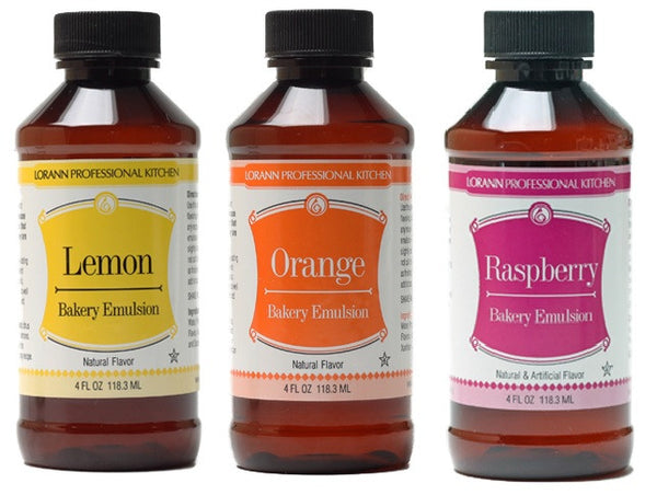 LorAnn Oils Bakery Emulsion Set of 3, Lemon, Orange, Raspberry - Cricket Creek