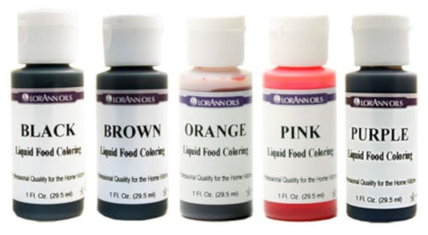 Liquid Food Coloring - Set of 5 Specialty Colors - Black, Brown, Orange, Pink, Purple - Cricket Creek