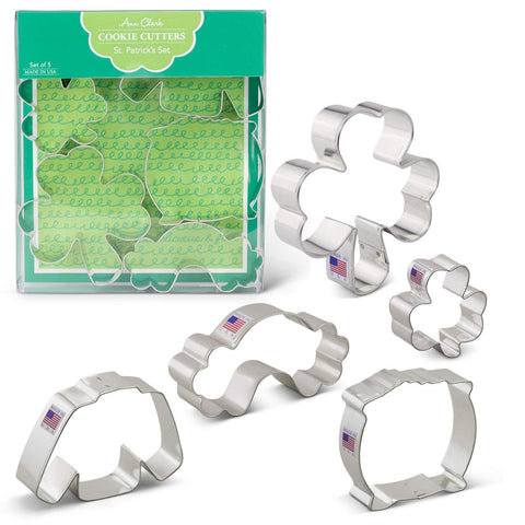 "St. Patrick's Day Cookie Cutters 5 Piece Boxed Set 2 5/8"" and 4"" Shamrock, Irish Sweater, Rainbow, Pot of Gold Ann Clark - Cricket Creek"