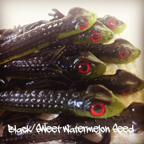 "KLM Worms 4-1/2"" Fuzz - Black/Sweet Watermelon 6/pack"