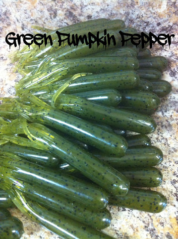 "KLM Worms 3-1/2"" Tube Bait - Green Pumpkin Pepper 8/pack"