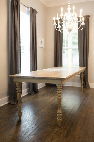 The Legs Are Turned From White Oak As Well. We Wrap The Table Skirt Around  The Legs To Give It That Natural Farmhouse Feel.