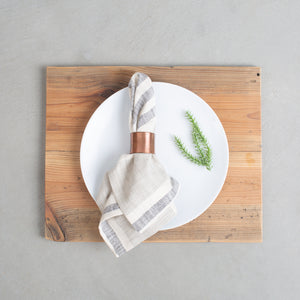 Taupe and Black Striped Napkins