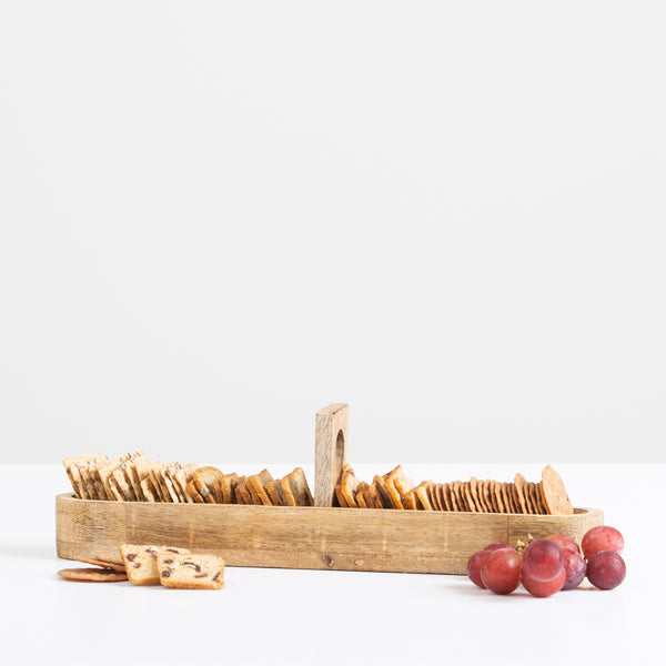 Wood Cracker Tray with Handle