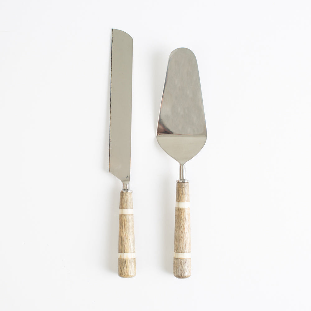Wood and Horn Handle Cake Server Set