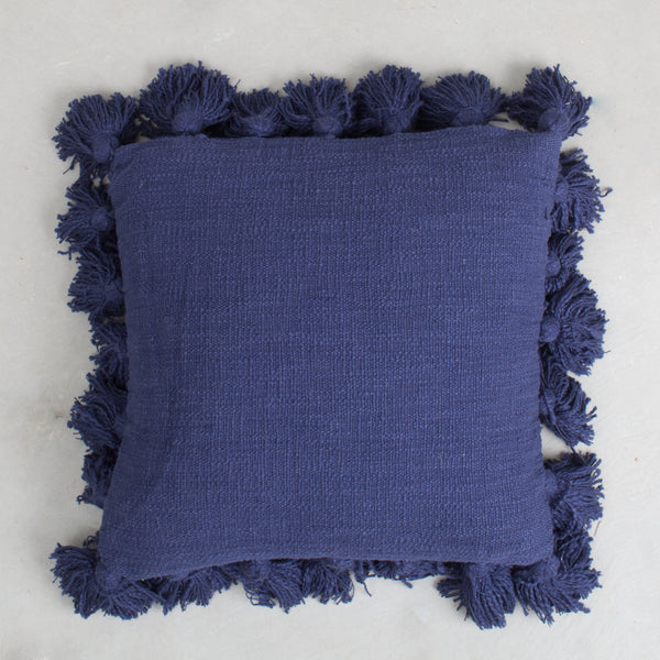 Navy Pillow With Tassels