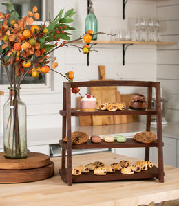 3 Tiered Serving Tray Stand Walnut