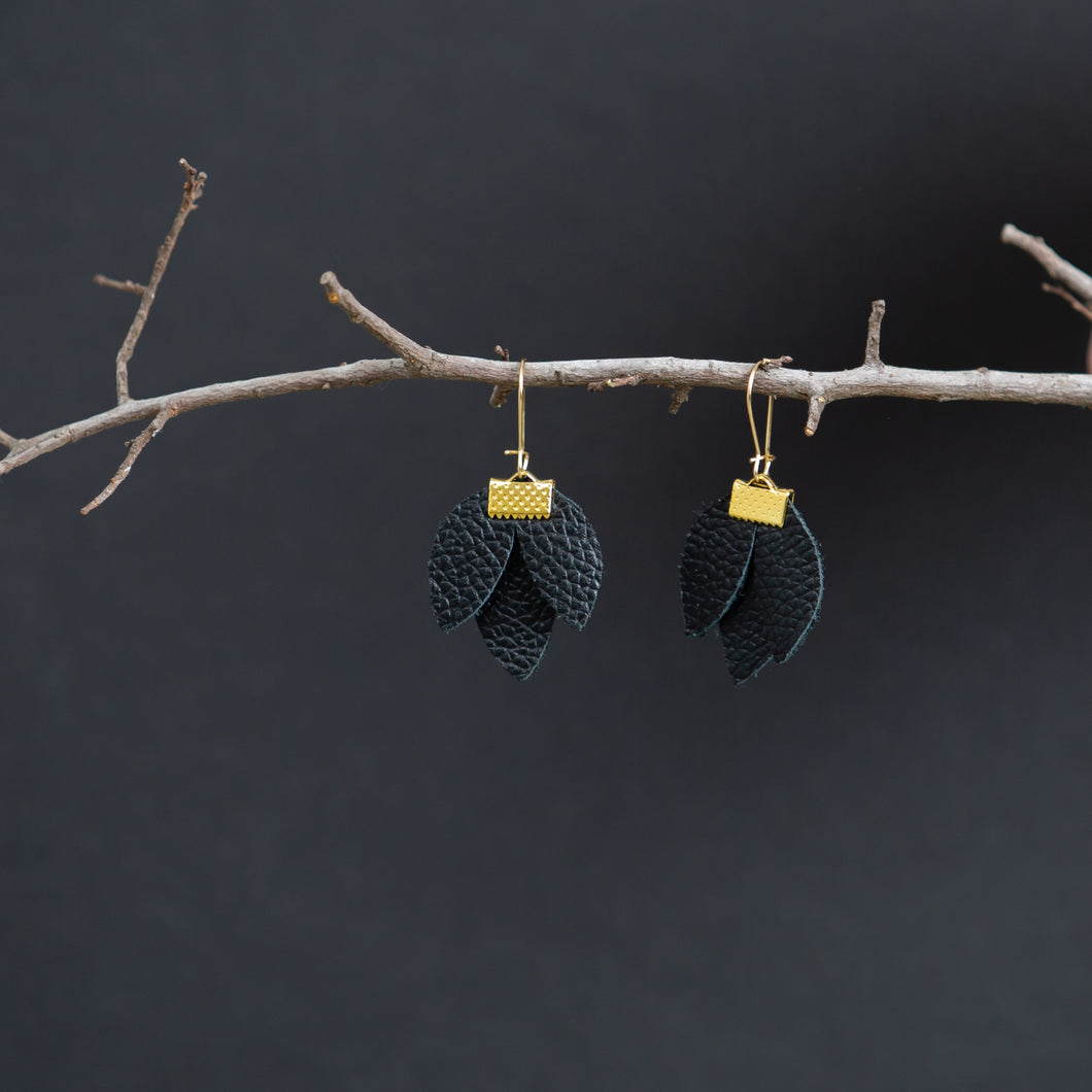 Black Leather Water Lily Earring