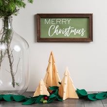 Canvas Merry Christmas Sign with Wooden Frame