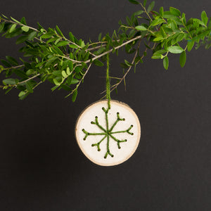 Wood with Stitch Ornament Green