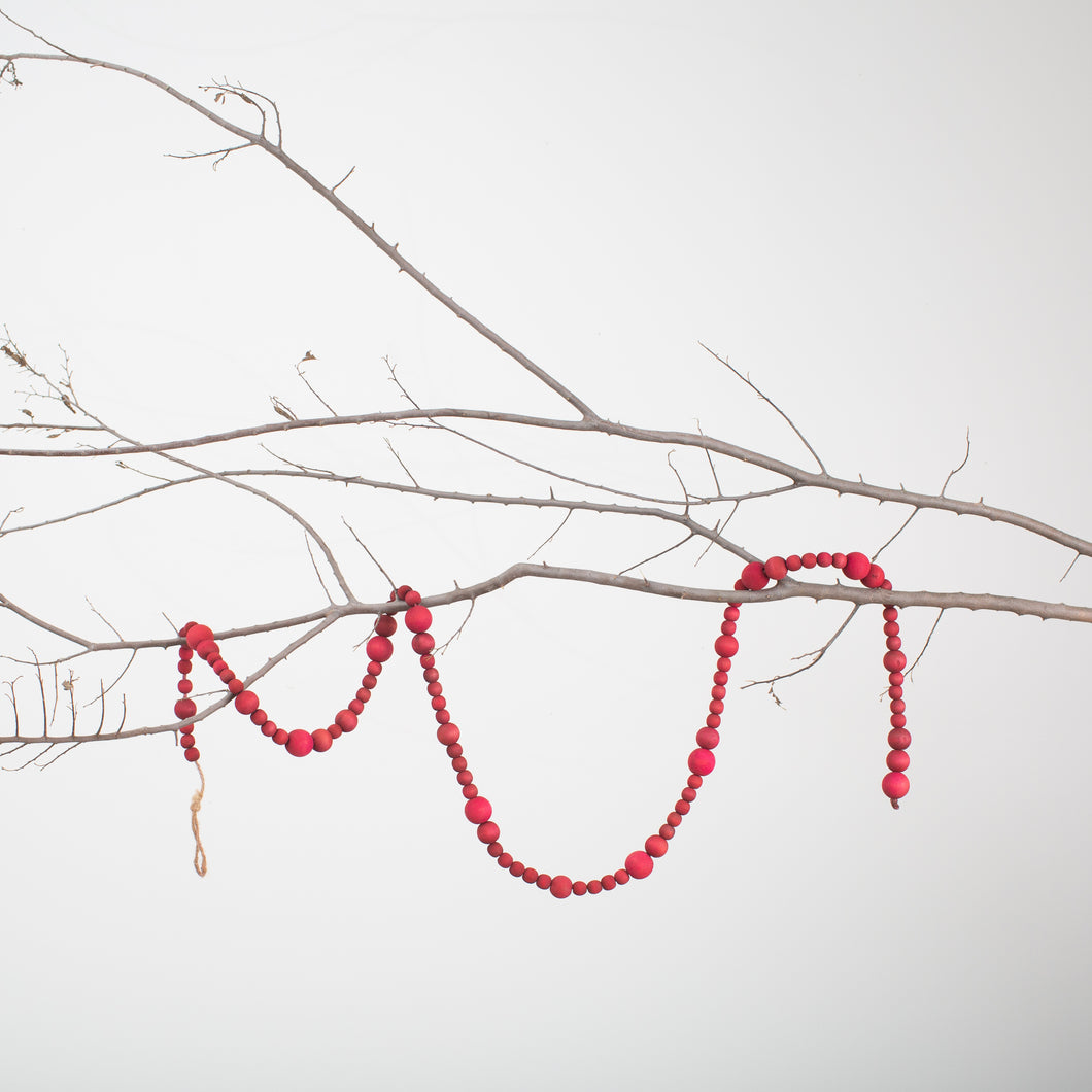 Wood Bead Garland-Red