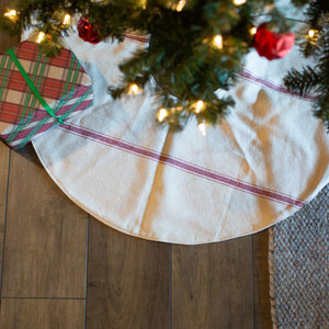 Two Sided Reversible Red Stripe Tree Skirt