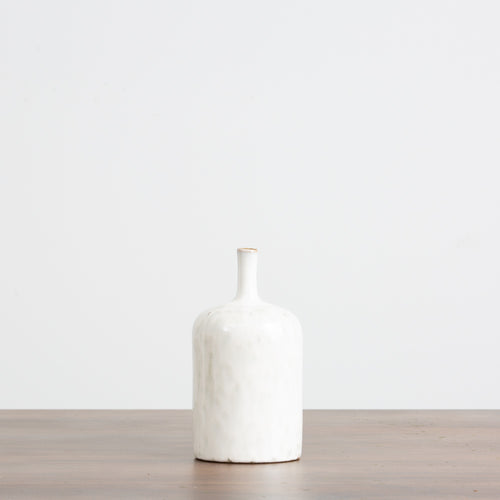 Tall White Stoneware Vase