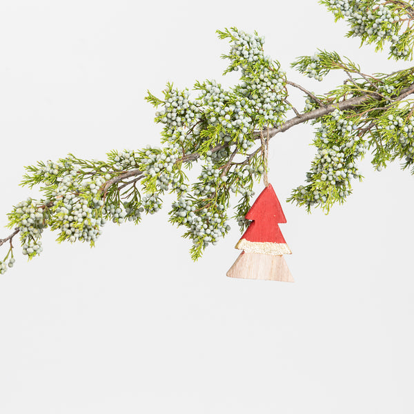 Wood Tree Ornament Red