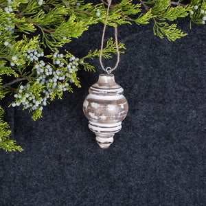 White Distressed Round Finial Ornament