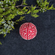 Red and White Ball Ornament
