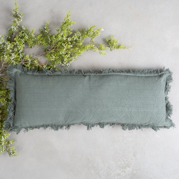 Green Pillow with Fringe