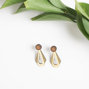 Walnut and Brass Teardrop Earrings