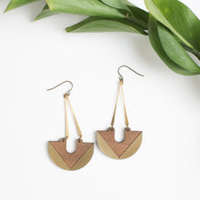 Walnut and Brass Crescent Earrings