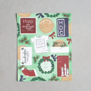 Holiday Harp Sticker Sheet