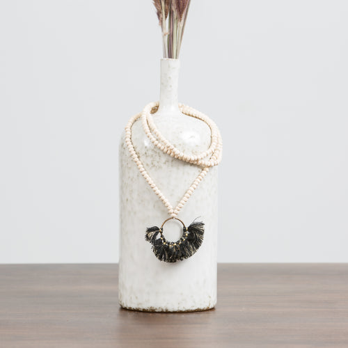 Beaded Brass & Tassel Necklace-Black