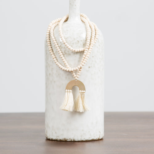 Beaded Brass & Tassel Necklace-Cream