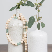 Aqua Glass and Wood Bead Garland