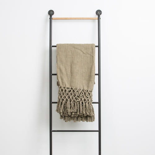 Olive Throw with Fringe
