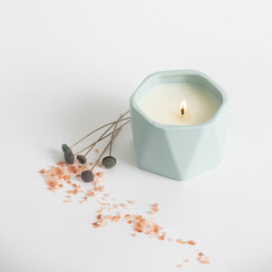 Sky Blue Ceramic Candle - Fresh Sea Salt