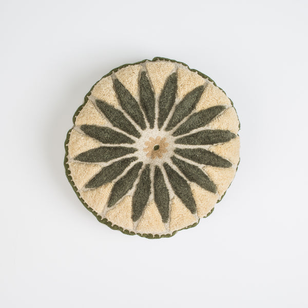 Round Flower Pillow-Green&Gold